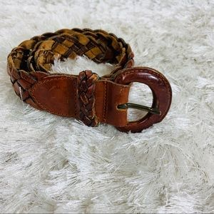 Vintage Brown Leather Woven Belt Sz Small